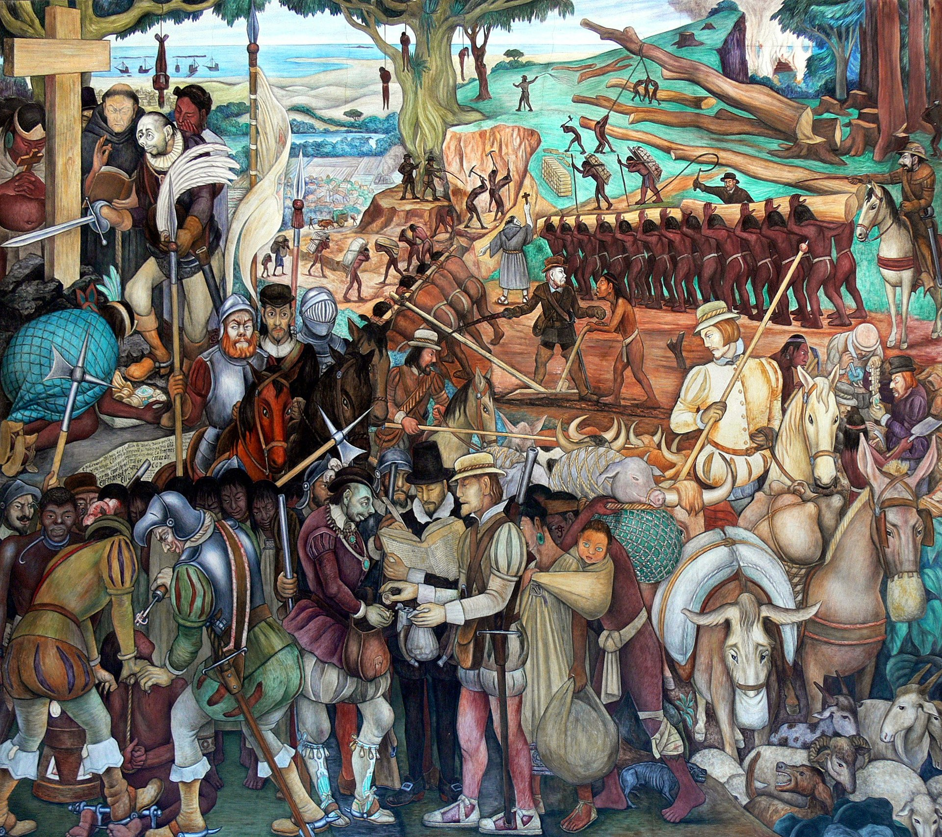 Diego Rivera - Mural of exploitation of Mexico by Spanish conquistadors, Palacio Nacional, Mexico City