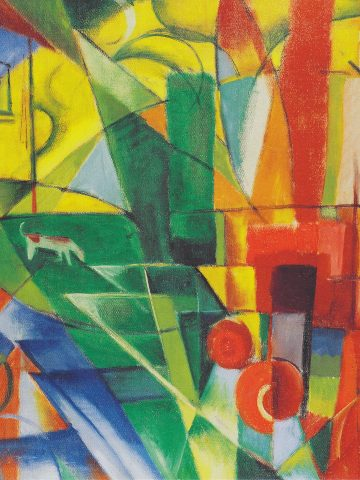 Franz Marc: Landschaft mit Haus, Hund und Rind, Landscape with house, dog and cattle (1914)